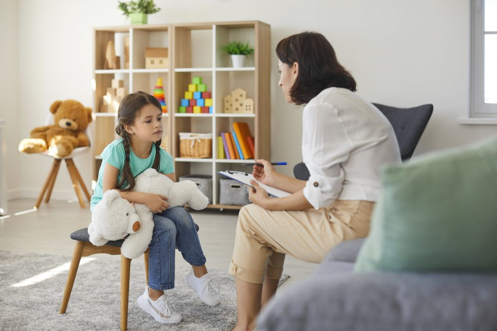 Therapist works with client